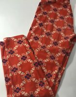 LuLaRoe One Size OS Red Blue Cream Leggings Kaleidoscope Style