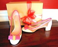 NWT SALVATORE FERRAGAMO White/Ivory Pink Patent Leather Pumps Size 6 ITALY$605