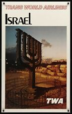 TWA ISRAEL JERUSALEM MENORAH 1965 Vintage Travel poster 25x40 AIRLINES Not Repro