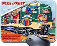 Vintage British Diesel Locomotive Cutaway Mouse Mat. Railway Train Mouse Pad