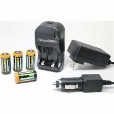 4 CR 123A Rechargeable Batteries + Charger Kit + AC/DC Charger for Surefire G2X