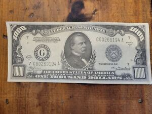 One thousand dollar bill 9x3 7/8 heavy paper USA collectable