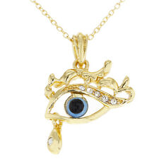 Gold Tone Clear Crystal Turkish Blue Evil Eye Pendant Necklace 19""