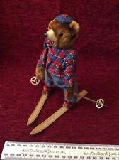 Clockwork Skier Teddy Bear Vintage  Toy C. 1950s With Key