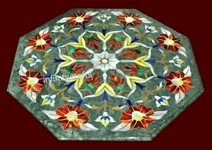 27 Inch Green Marble Table Top Peitra Dura Art Coffee Table from Cottage Crafts