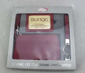 BUXTON Red Wristlet Wallet & I.D. Card Case & Keyring Trio Gift Set Boxed NEW