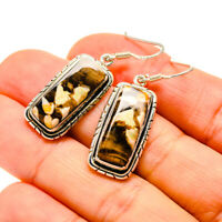 "Peanut Wood Jasper 925 Sterling Silver Earrings 1 1/2"" Ana Co Jewelry E411198F"