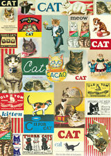 Vintage Cats Poster Cavallini & Co 20 x 28 Wrap