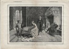 Stampa antica PARTITA A SCACCHI Gerolamo Induno 1886 Old antique print