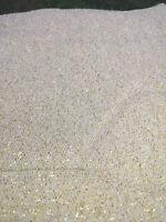 "Fabric Remnant Tan/Gold Metallic Netting 8 1/2Yds x 52"""