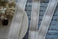 """1y VTG GERMAN 1 1/8"""" WHITE FLORAL JACQUARD EYELET COTTON LACE RIBBON TRIM DRESS"""