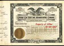 1903 VINTAGE RAILROAD 'CHICAGO CAR SEAL' UNISSUED BLANK EAGLE STOCK CERTIFICATE!