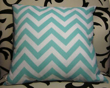 Aqua & white vintage arrow chevron cotton lightweight cushion pillow cover