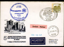 "ENVELOPPE ""NATIONS UNIES"" Oblitération postale AVIATION & MOERS / WIEN Autriche"