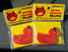 """Devil Duckie Erasers Set of Two Lot Red Rubber Duck Shaped with Horns 2"""""""