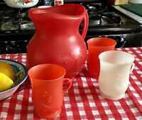 Refreshing Memories Vintage 1984 Red Kool Aid 2 Qt Pitcher & Cups Collectible