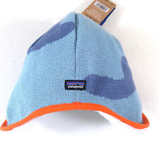 Patagonia Infant Reversible Beanie Hat Polar Bears Blue White Size 3-6 Months