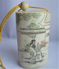 Vintage Japanese bovine Bone inro Netsuke, magnifiquement décoré