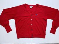 Vintage Izod Lacoste Alligator Red Cardigan Sweater Men's Size Large USA Made