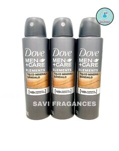 3 x Dove MEN+Care Talc Mineral & Sandalwood / Talco Mineral & Sandalo Deodorant
