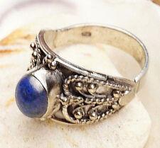 Silberring 62 Breit1,6 cm Lapis Lazuli Pyrit Verspielt Antik Herz Ring Silber