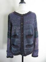 Anthropologie Free People Purple Silk Angora Wool Cardigan Sweater M EUC
