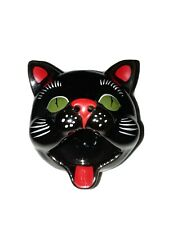 Vintage Shafford Japan Redware Black Cat Head Ashtray