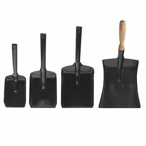 Black Metal Fireplace Coal Ash Shovel Dustpan Tools Wooden Animal Pet Feed Scoop