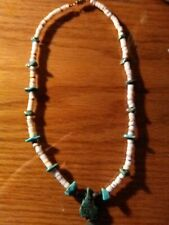 Handmade Necklace With Natural White Shell,Corral,Turquoise Gemstones