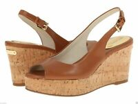 Michael Kors Shoes Sandals Luggage Tan Leather Slingback Open Toe Cork Wedge - 9