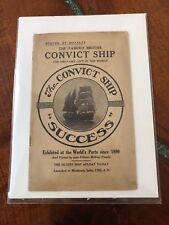 1912 Vintage Antique THE CONVICT SHIP SUCCESS Pamphlet Brochure Booklet History