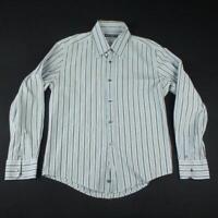 Dolce & Gabbana Shirt Mens M 41 inch Chest Blue Brown White Stripes Ls Cotton