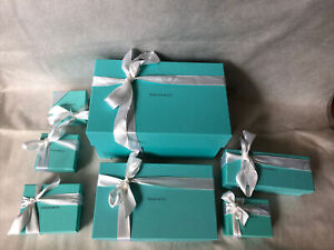 Tiffany & Co. jewelry gift boxes lot of 7 in 6 sizes with ribbon empty