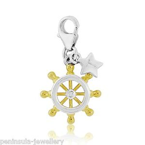 Tingle Sterling Silver Charm clip on Ships Helm Wheel with Gift Box and Bag