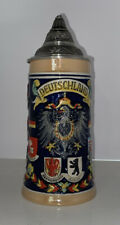 Beer Stein ALWE Germany With Pewter Lid Deutschland W/many Other Cities Tankard