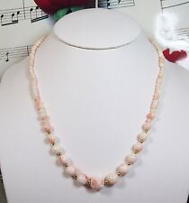 Genuine Natural Light Pink Coral Necklace With 14K GF Clasp. Graduated. LCR002