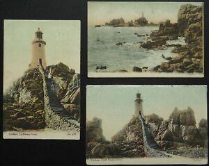 Channel Island 3 x JERSEY Corbiere Lighthouse c1906 Postcard by JWS