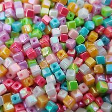 🎀 3 FOR 2 🎀 100 Opaque Iridescent Acrylic Cube 4mm Spacer Beads For Jewellery