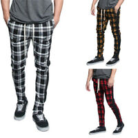 Victorious Men's Plaid Checkered Ankle Zipper Drawstring Track Pants S~5XL TR537