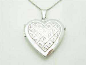 14kt White Gold Heart Shape Filagree Design Handmade Locket Necklace New Gift