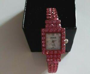 Joan Rivers Swarovski Crystal Watch-Pink Hinge Watch