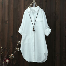 US Womens Oversized Long Sleeve Tops Shirt Casual Loose Boyfriend Mini Dress New