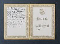 Menu 19 avril 1894 Sire DE BROGLIE Duc DE FEZENSAC Comte DE BRIEY noblesse