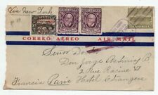 1931 GUATEMALA TO FRANCE AIRMAIL COVER, RARE OVERPRINTED STAMP, LOOK