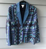 Chico's Veronica Blue Print Blazer Jacket Sz 2 M 12
