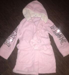 victorias secret robe plush soft pink bling sequin Xs Sherpa Knee Length
