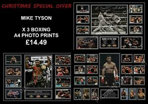 MIKE TYSON SIGNED X 3 PRINT SPECIAL OFFER BOXING A4 PHOTO AUTOGRAPH PRINTS