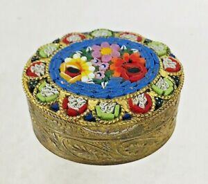 Vintage Micro Mosaic Floral Pill Box 1 1/2 x 1 1/4 x 5/8 G4