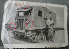 original  Foto  Raupenschlepper Kettenzugmaschine Beute russisch  Rollbahn  Nord
