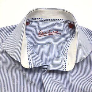 Robert Graham Blue White Striped Shirt Size 41 16